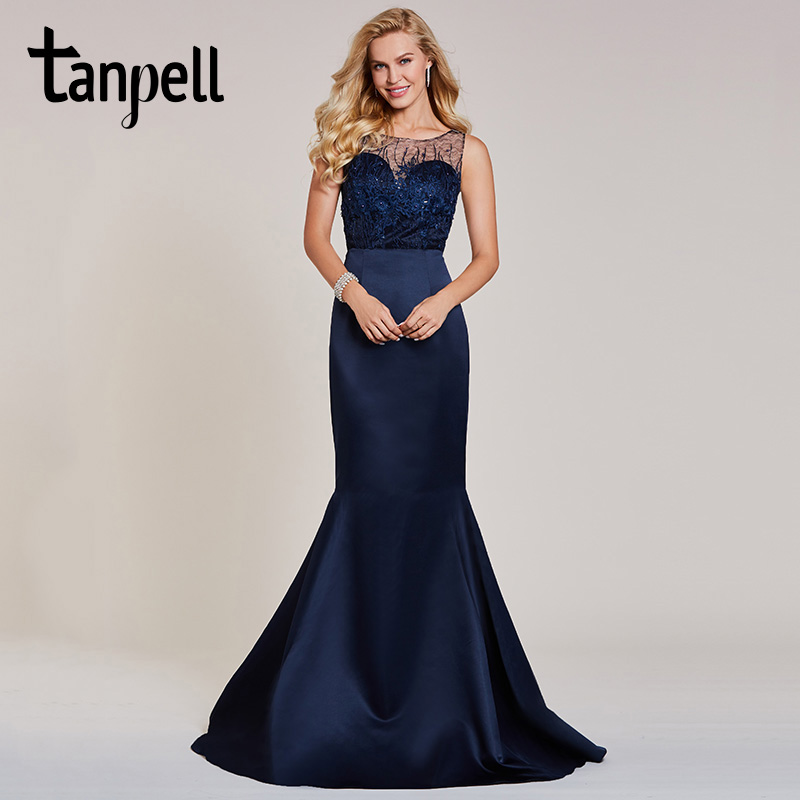 Tanpell mermaid evening dress luxury dark navy sleeveless floor length gown women appliques beaded formal long evening dresses