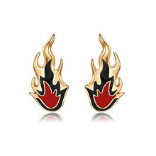 Personality Gothic Punk Flame Stud Earrings Hip Hop Night Club Cool Trend Stream For Men Women Jewelry