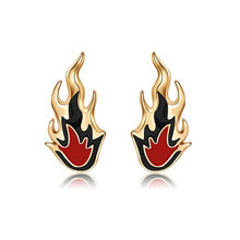 Personality Gothic Punk Flame Stud Earrings Hip Hop Night Club Cool Trend Stream Earrings For Men Women Jewelry(China)