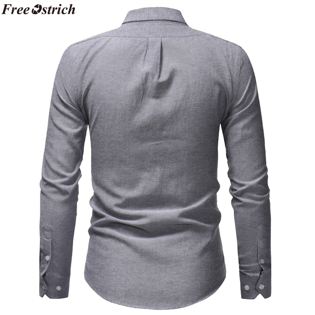 FREE OSTRICH Men Fashion Solid Color Long Sleeve Business