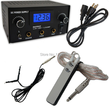 LCD Digital DUAL machine TATTOO POWER SUPPLY foot pedal switch+clip cords for tattoo gun needles kits Free Shipping