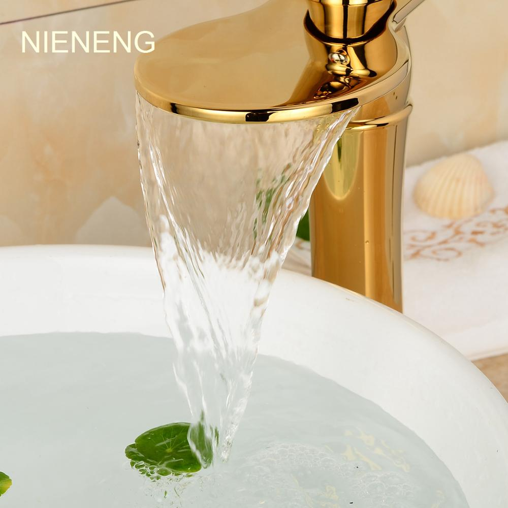 NIENENG bath sink mixer bathroom faucet golden tap toilet ...