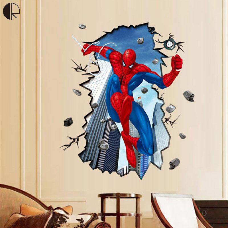Cool spiderman 3d diy home decor wall stickers for for Cheap wall mural posters