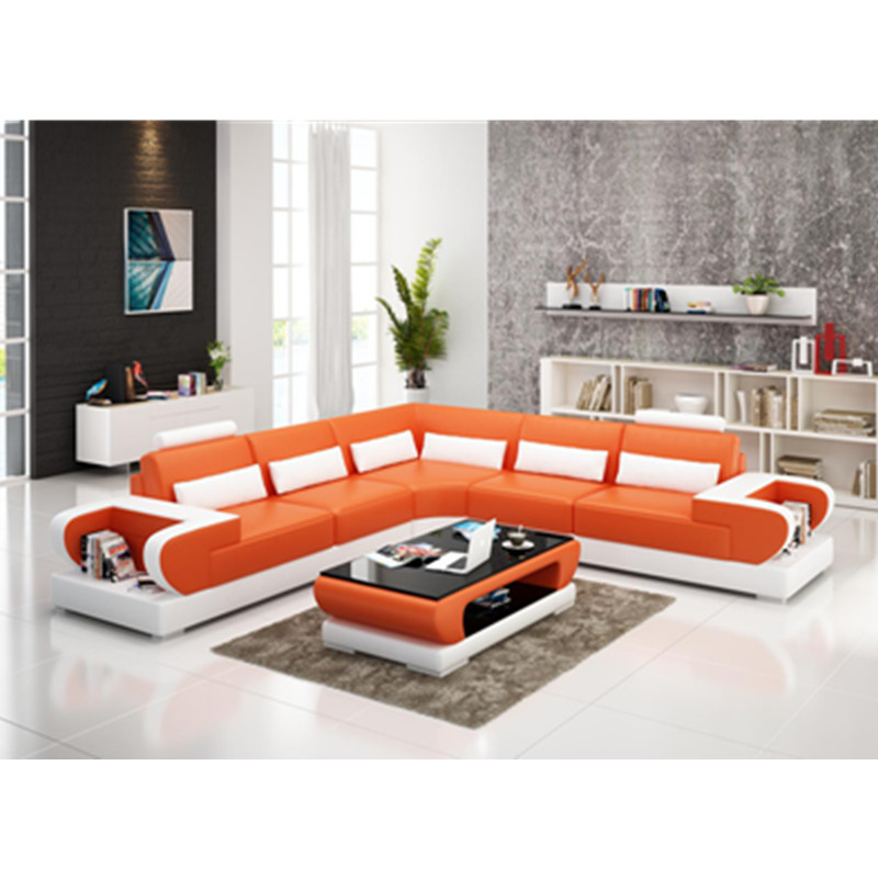 US $1108.0 |Italian Style orange Leather L Shape Luxury Living Room Sofa  Set-in Living Room Sofas from Furniture on AliExpress