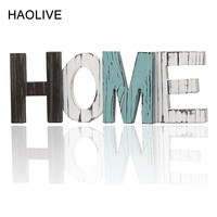 HAOLIVE Wooden Home Letters Ornament Grinding Colorful Party Decor For Wedding Birthday House Moving Daily Wooden Home Decor