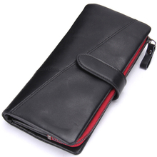 New Fashion Cowhide Genuine Leather Zipper Hasp Big Capacity Men's Phone Wallet Photo Card Holder Long Coin Purse