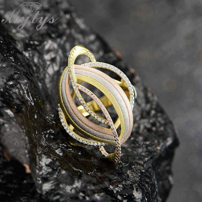 Mytys เรขาคณิตแหวนสามโทนทองพ่นทราย Frosted วงกลมแหวนสำหรับผู้หญิง Span แฟชั่น Anillo R2055