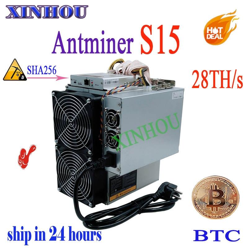 US $1268.0  Used BTC BCH Asic miner AntMiner S15 28T SHA256 Miner Better Than BITMAIN S9 S9K S17 T17 T9+ Z11 WhatsMiner M3 M21s M20s T2T T3 in Network