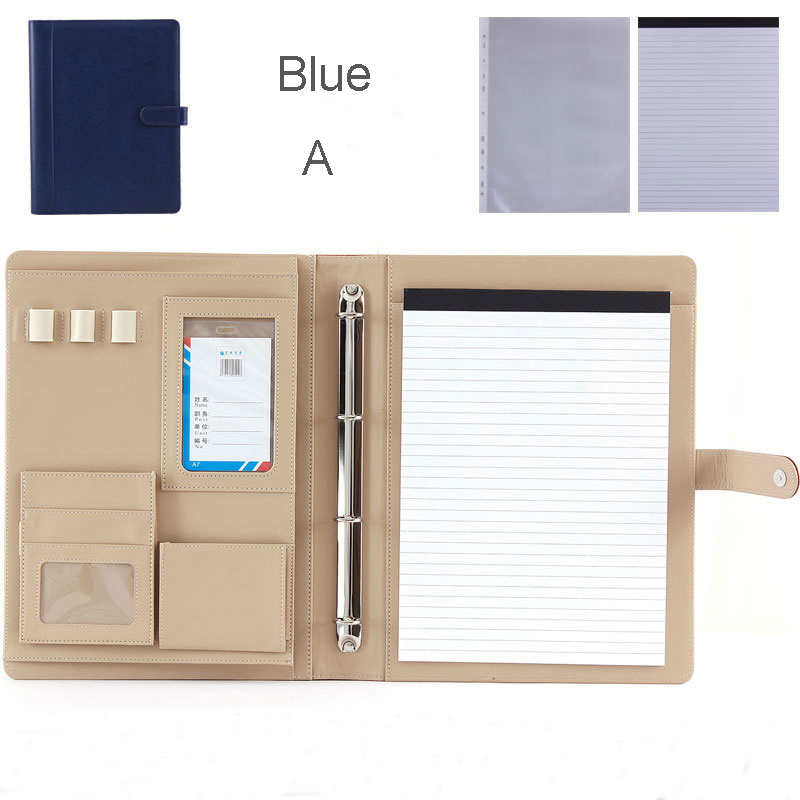 multifuction faux leather file folder A4 for documents papers portfolio with ring binder office supplies filing products 1200D