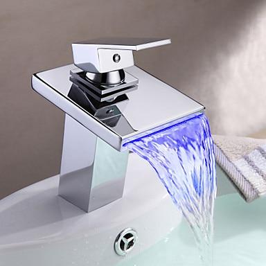 Multi-color LED Waterfall Water Sink Basin Faucet Tap For Bathroom, Torneira Para De Banheiro Monocomando color changing led waterfall tap for bathroom sink faucet torneira para de banheiro