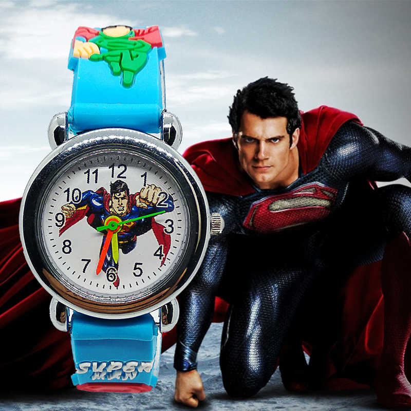 2019 מהדורה חדשה 3D Cartoon סופרמן שעון ילדי ילדים שעונים עבור בנות בני מתנת ילד תלמידי שעון קוורץ שעוני יד