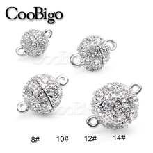 Fermoirs magnétiques en strass en métal, boule ronde, résultats de bijoux, bricolage, collier, Bracelet, accessoires cadeau, argent, vente en gros