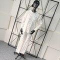 Crop Top Y Falda Set 2016 Caliente Patrón Del O-cuello de Algodón de tamaño Completo nueva Mujeres Traje de Moda de Punto Jacquard Camisa + Pantalones Inicio Paquete