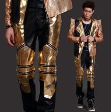 Stage gold black splice zipper fashion personality men leather pants motorcycle pant men feet trousers singer dance rock fashion цена