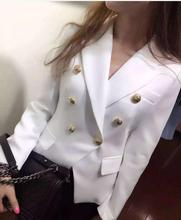 Great quality red black blue color blazer 2016 Draping gold color buckle Slim was thin suit jacketl double breasted blazer w906