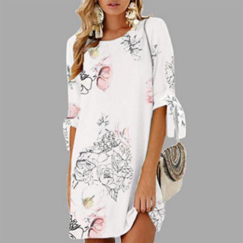 Vintage chiffon summer dress women floral print o-neck lace up short sleeve mini dresses casual plus size club party beach dress
