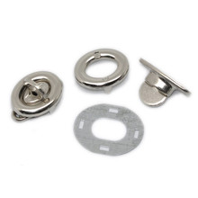 20 Sets Silver Tone Oval Clasps Purse Twist Turn Lock For Coin Bag Handbag 17x33mm(5/8x1 2/8)