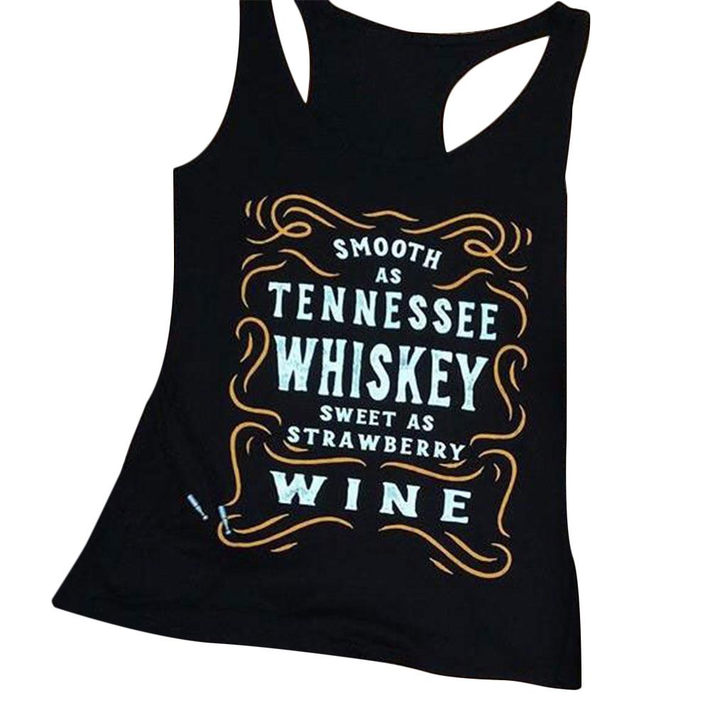 Plus Size Women Tank Tops Summer Sleeveless Smooth As Tennessee Whiskey O Neck Casual Tee Ladies Female 2XL Oversize Top Tank image