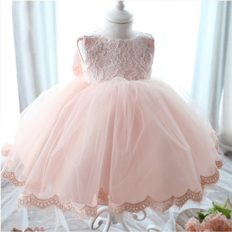Big bow Lace Baby Girl Wedding Pageant Dress Infant Princess Little Girls 1 Year Birthday Party Dress Newborn Christening Gowns in stock layered pre teen party gowns little girls pageant dress pink color