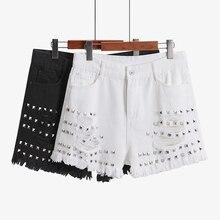 Desgastado Verão Denim Jeans Shorts Para As Mulheres Rebite Buraco Cintura Alta Perna Larga Harem Pants Shorts Jeans Boyfriend Jeans Femme Plus tamanho 5XL