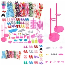 Handmade Clothing UK 83PC/Set Barbie Dress Up Clothes Lot Cheap Stand Holder For Doll Accessories Gift LNY9190