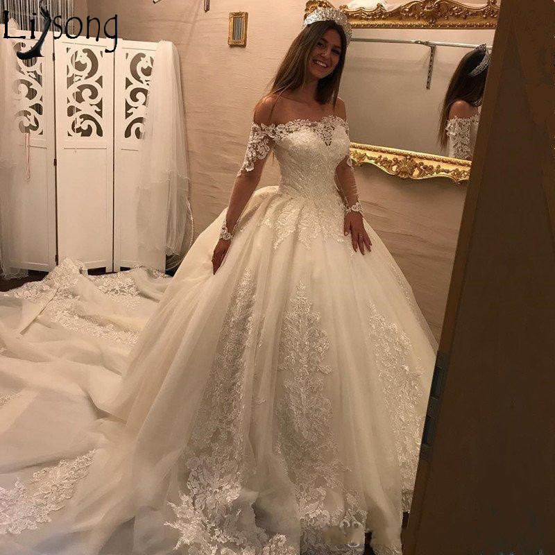 Gorgeous Off White Wedding Dress Long Sleeve Off The