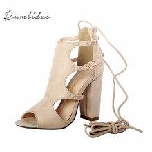 Rumbidzo 2017 Модные женские туфли-лодочки летние римские сандалии открытый носок обувь на высоком каблуке с вырезами Кружево на шнуровке Sandalias Женская обувь Sapatos