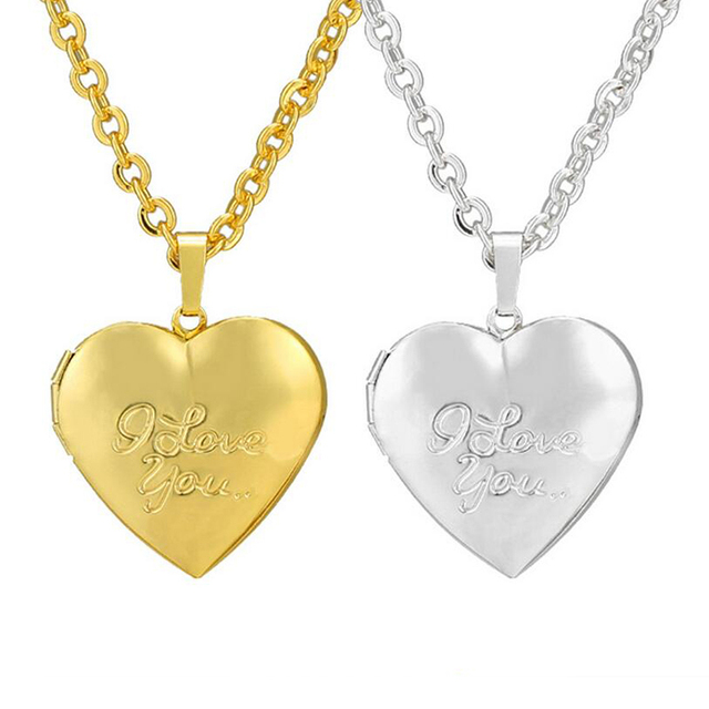 2018 Collare Memory Photo Locket Pendant Necklace Valentine s Day Gift Love Heart  Necklace Women Gold Silver Color Wholesale 1ebe2c9565e3