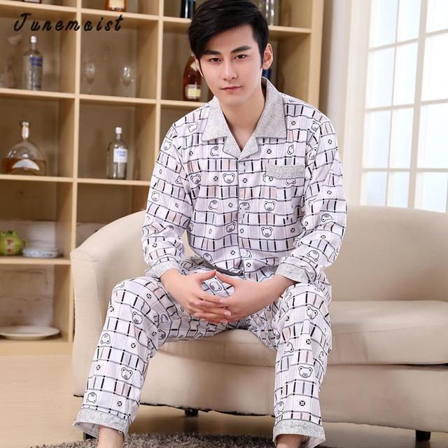 Nuevos Hombres Pijama de primavera y otoño más tamaño delgado ropa de noche masculina más el tamaño conjunto de salón de manga larga Hombre sleevewear homewear conjunto
