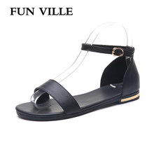 New Fashion Summer Shoes Women Sandals Genuine Leather Sweet Female Sandals Non-slip Open Toe Woman Flats Shoes Casual Sandals(China)