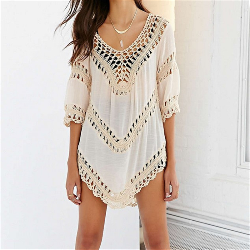 buy beach cover up crochet dresses knitting swimsuit short sleeve beachwear. Black Bedroom Furniture Sets. Home Design Ideas