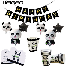 WEIGAO Panda Birthday Party Decoration Disposable Tableware Foil Inflatable Star Balloons Decorations Kids