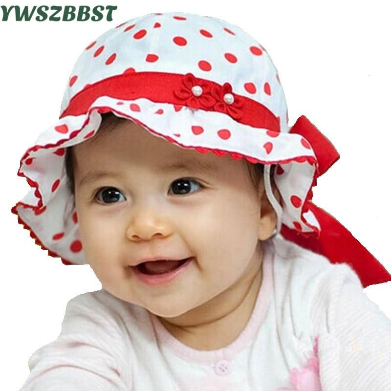 Nieuwe Hot Koop Baby Zonnehoed Mode Mooie Dot Strik Zomer Kinderen Kid Baby Zonnehoed Cap Meisjes Prinses fotografie