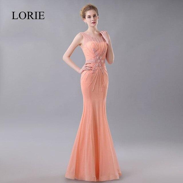 a4b6427016b LORIE Corail Élégant Longue Robe De Soirée 2018 Robe De Soirée plus la  Taille De Bal