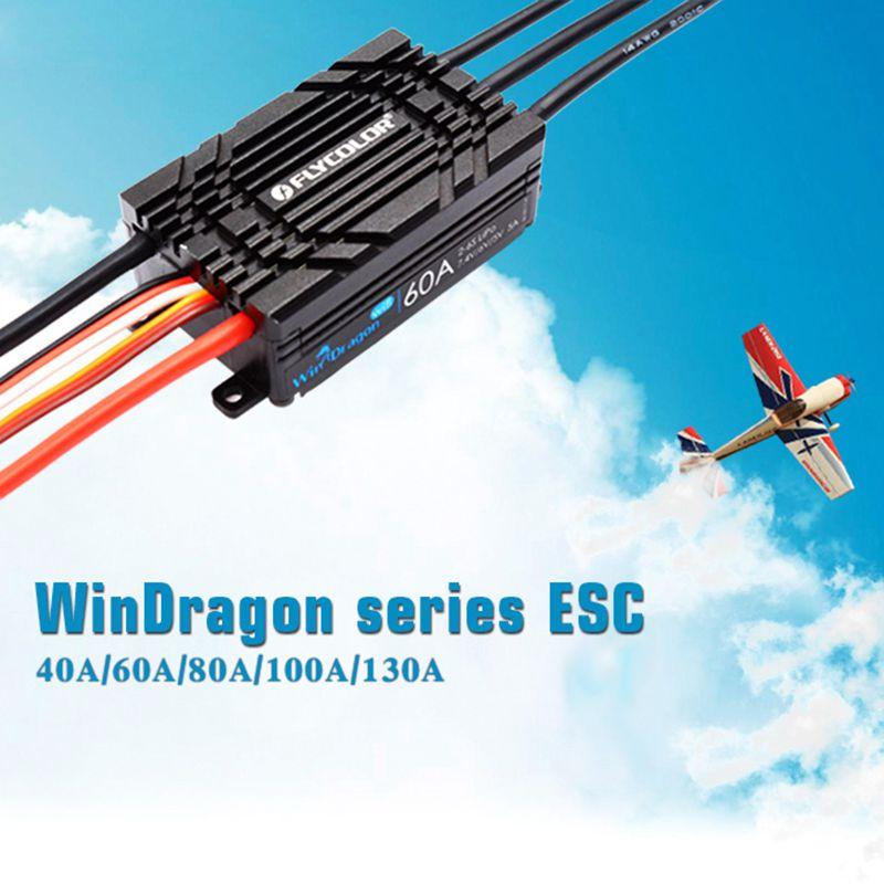 FATJAY Flycolor WinDragon ESC 40A 60A 80A 100A 130A fonction inverse bidirectionnelle 2-6 s BEC réglable sortie wifi APP programmation - 2