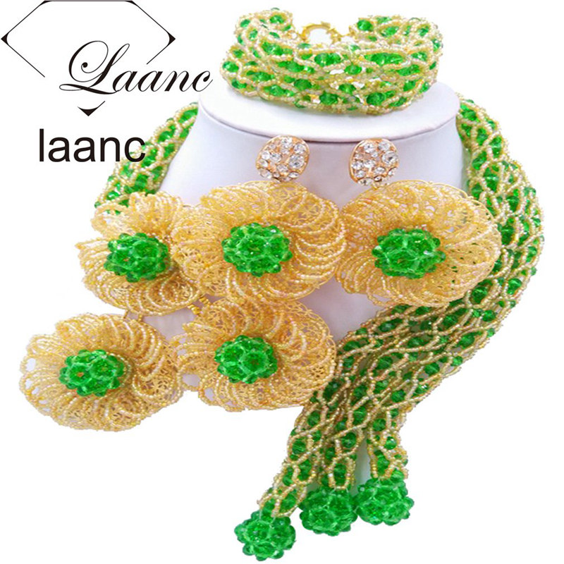 Laanc Flower Green Gold Jewelry Set for Women Costume Nigerian Wedding African Beads Necklace and Earrings FBFE007Laanc Flower Green Gold Jewelry Set for Women Costume Nigerian Wedding African Beads Necklace and Earrings FBFE007