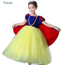 Girl's Princess Snow Queen Party Deluxe Costume Tulle Tutu Dress-Up with Cloak Gloves Vestido 2018 new style 2020 new bridal dress cloak tulle princess proof shawl party stage catwalk photographic portrait tulle cloak