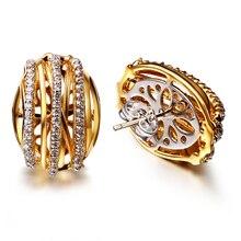 La oferta de hoy oro color pendiente micro pave ajuste con cubic zirconia stud pendientes nuevo con piedras pendiente de la manera para las mujeres