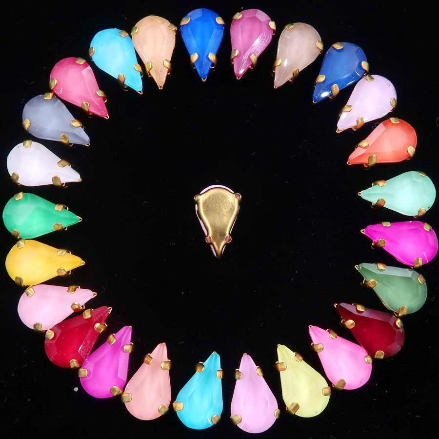 Złoty pazur ustawienia 50 sztuk/paczka galaretki cukierki i AB szkła kryształowego w 8*13mm slim kształt kropli wody szyć na rhinestone odzież diy wykończenia