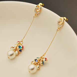 3pairs/lot Q9 Grapes Beads Pearl Earwire Czech Diamond Earrings Chain Earrings Jewelry ACCeSSories lab line Wholesale Store