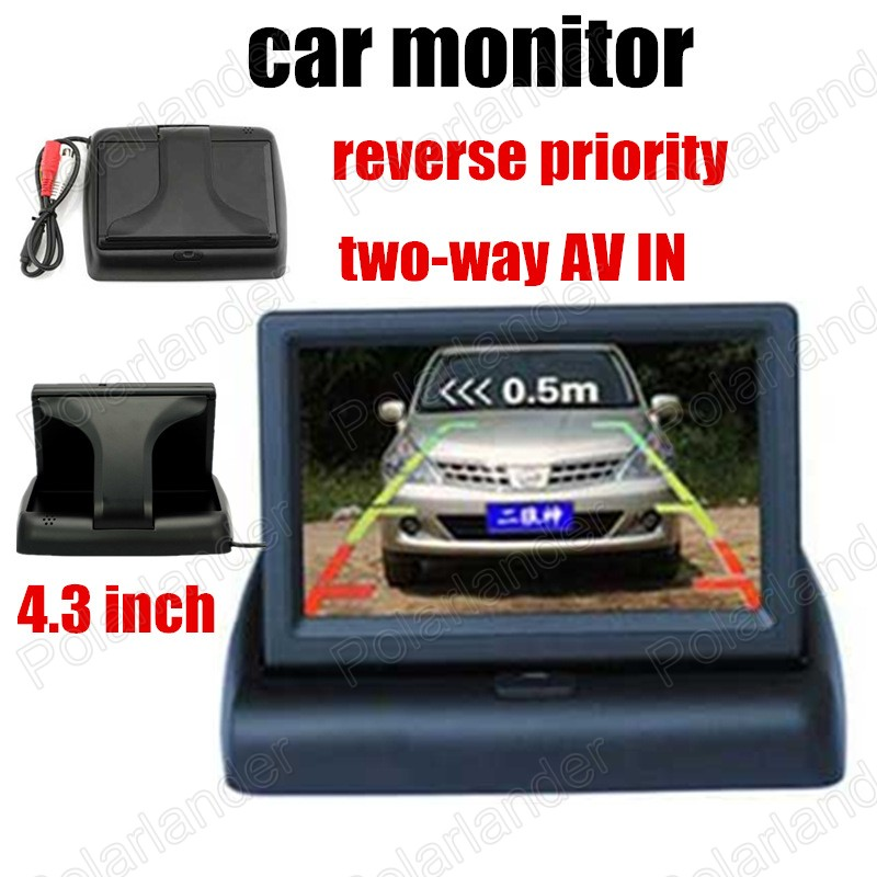 two channels video input 4.3 inch car monitor Foldable color TFT LCD Screen buckup parking camera reverse priority