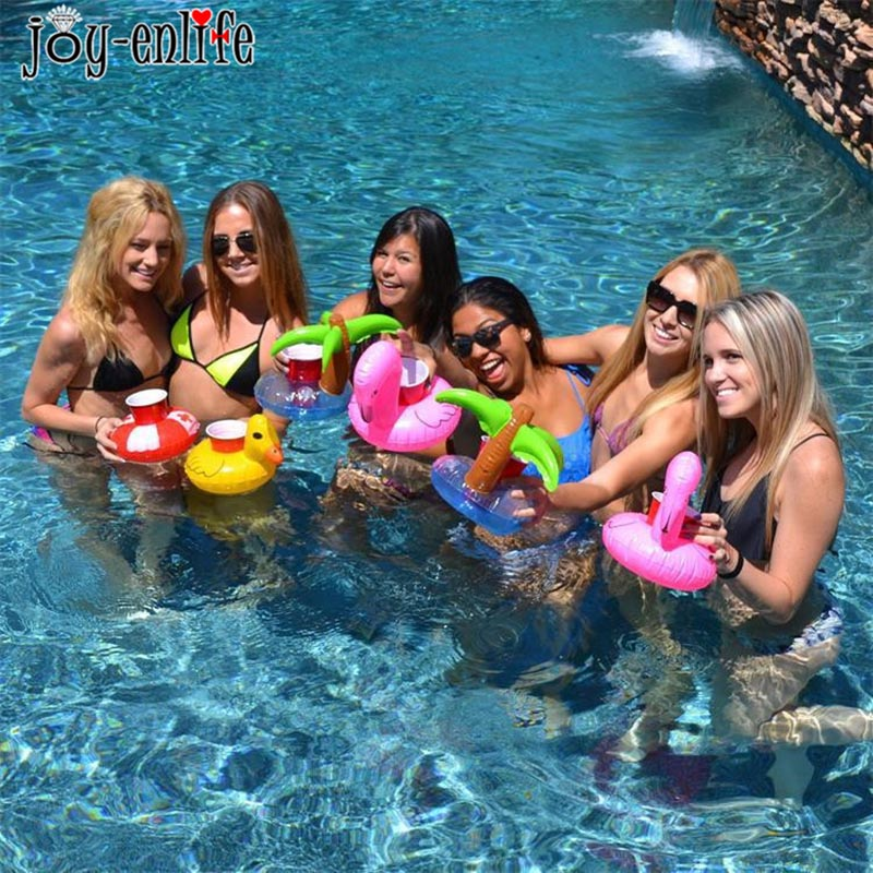 JOY-ENLIFE Hawaii Flamingo Party Flamingo/Donut Inflatable Cup Floating Holder Swim Pool Party Decor Beach Party Decoration