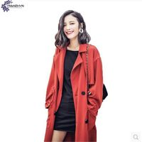 TNLNZHYN Trench Coat 2017 Spring Autumn New Fashion Lapel Loose Long Sleeves Women Long Section Pure
