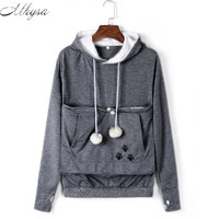 Mhysa Cat Lovers Hoodies With Cuddle Pouch Dog Pet Hoodies For Casual Kangaroo Pullovers With Ears