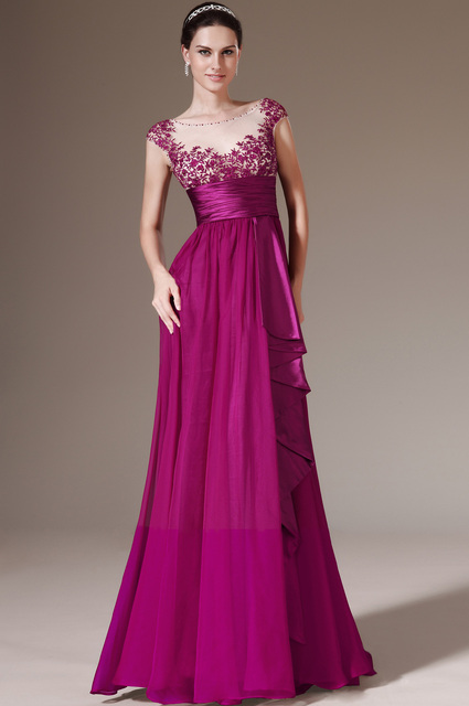Newest Style Cap Sleeves Appliques Empire Sash Purple Formal Dress