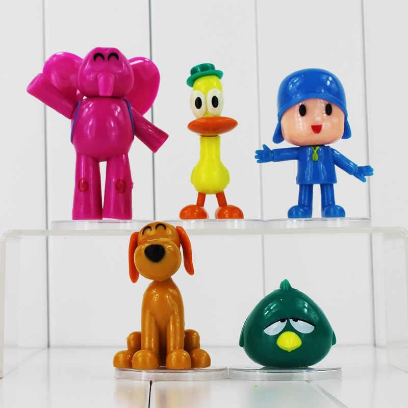 Pçs/lote 5 Elefante Dos Desenhos Animados Figura Brinquedos Pocoyo Pato pato Pocoyo Elly Loula Doggy Modelo Pássaro Sonolento Bonito da Boneca caçoa o presente