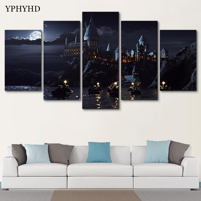 YPHYHD 5 Piece Canvas Art Potter Hogwarts Magic School Classical Picture Canvas Prints Table Wall Decoration Living Room Pop Art