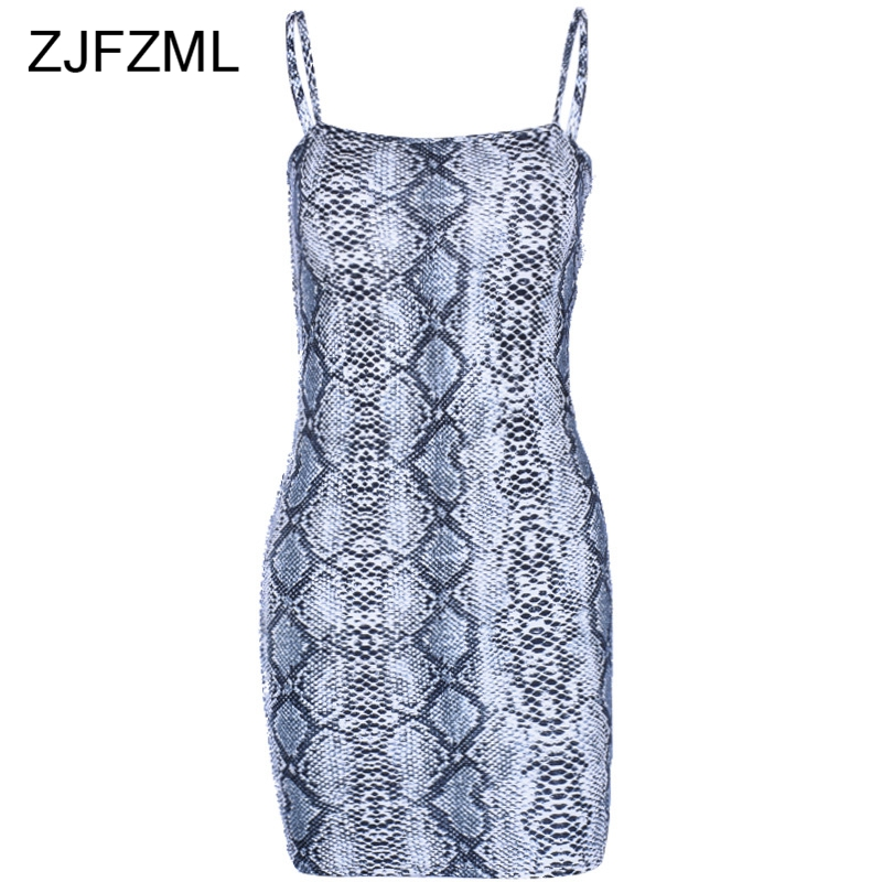 Spaghetti Strap Snake Skin Printed Sexy Summer Dress Women Strapless Party Dress Elegant Skinny Club Mini Package Hip Dresses in Dresses from Women 39 s Clothing