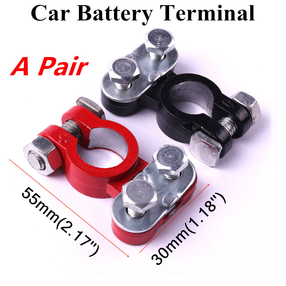 2Pcs Aluminum Automotive Car Battery Terminal Clamps Positive & Negative Clip Connector Corrosion Resistance 55x30mm