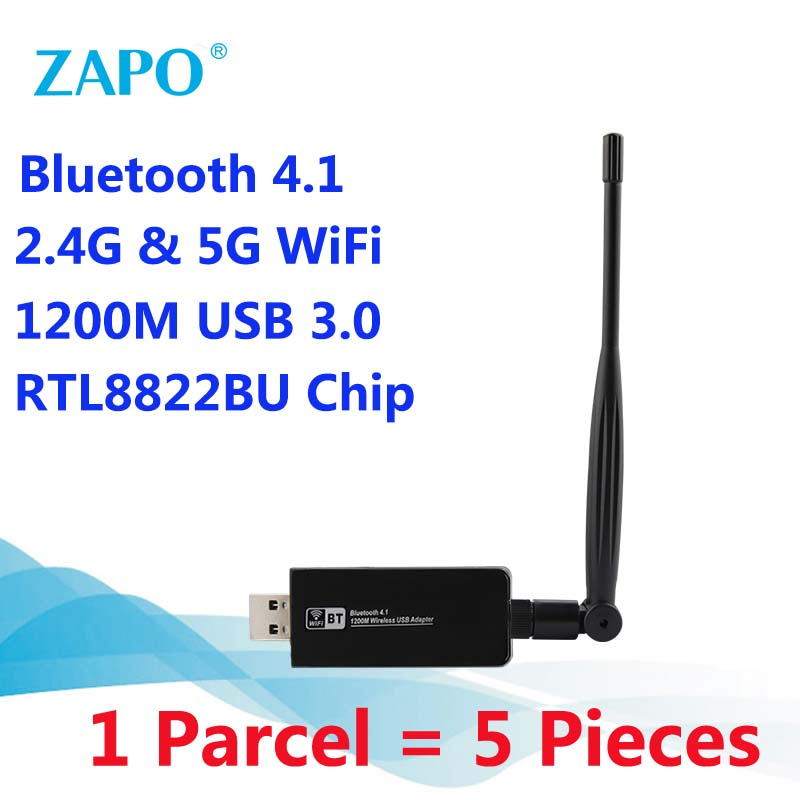 ZAPO Wholesale Bluetooth 4 1 Add 5G WiFi 1200Mbps USB 3 0 Adapter Top  Antenna Wireless AC Network Card For Windows Linux Systems